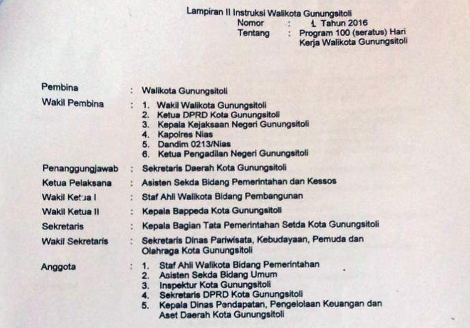 Ketua Program 100 Hari Wali Kota Gunungsitoli Jabat Kepala Bappeda Suara Nusantara Inspirasi Anak Negeri
